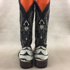 7afde33fadc Ferrini Zebra Stingray Boots Cowgirl Square Toe